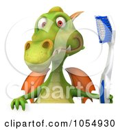 Royalty Free CGI Clip Art Illustration Of A 3d Dental Dragon With A Blank Sign 2