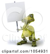 Royalty Free CGI Clip Art Illustration Of A 3d Dinosaur With A Blank Sign 1