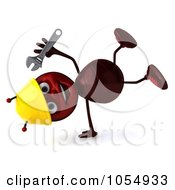 Royalty Free CGI Clipart Illustration Of A 3d Worker Ant Holding A Wrench And Doing A Hand Stand by Julos
