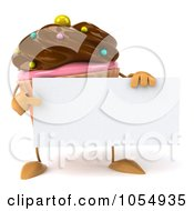 Royalty Free CGI Clip Art Illustration Of A 3d Chocolate Frosted Cupcake Holding A Blank Sign