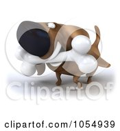 Royalty Free CGI Clip Art Illustration Of A 3d Wiener Dog Carrying A Bone 2