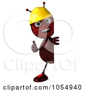 Royalty Free CGI Clipart Illustration Of A 3d Worker Ant Holding A Blank Sign Board 2 by Julos