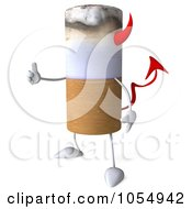 Royalty Free CGI Clip Art Illustration Of A 3d Devil Cigarette Holding A Thumb Up 1 by Julos