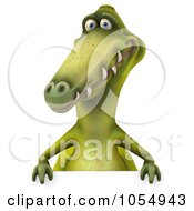 Royalty Free CGI Clip Art Illustration Of A 3d Dinosaur With A Blank Sign 2