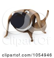 Royalty Free CGI Clip Art Illustration Of A 3d Wiener Dog With A Blank Sign 2
