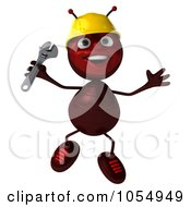 Royalty Free CGI Clipart Illustration Of A 3d Worker Ant Holding A Wrench And Jumping by Julos