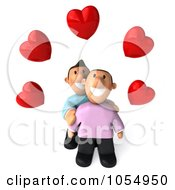 Royalty Free CGI Clip Art Illustration Of A 3d Gay Couple Under Hearts by Julos