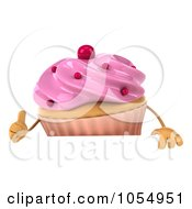 Royalty Free CGI Clip Art Illustration Of A 3d Pink Frosted Cupcake With A Blank Sign Board 1