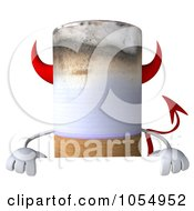 Royalty Free CGI Clip Art Illustration Of A 3d Devil Cigarette Holding A Blank Sign Board by Julos