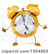 Royalty Free CGI Clip Art Illustration Of A 3d Yellow Alarm Clock Shrugging