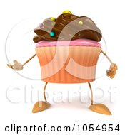 Royalty Free CGI Clip Art Illustration Of A 3d Chocolate Frosted Cupcake Gesturing