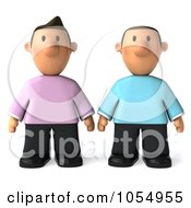 Royalty Free CGI Clip Art Illustration Of A 3d Gay Couple Standing Side By Side by Julos