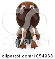 Royalty Free CGI Clip Art Illustration Of A 3d Brown Business Pooch Business Dog 2