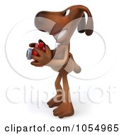 Royalty Free CGI Clip Art Illustration Of A 3d Brown Pooch Holding A Camera 2