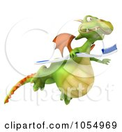 Royalty Free CGI Clip Art Illustration Of A 3d Dragon Flyin With A Toothbrush