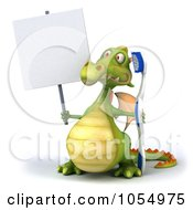 Royalty Free CGI Clip Art Illustration Of A 3d Dental Dragon With A Blank Sign 1