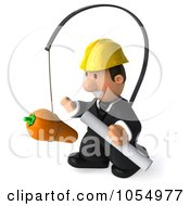 Royalty Free CGI Clipart Illustration Of A 3d Male Architect Chasing A Carrot