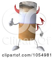 Royalty Free CGI Clip Art Illustration Of A 3d Devil Cigarette Holding A Thumb Up 2 by Julos