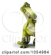 Royalty Free CGI Clip Art Illustration Of A 3d Dinosaur With A Blank Sign 4