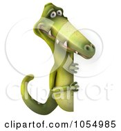 Royalty Free CGI Clip Art Illustration Of A 3d Dinosaur With A Blank Sign 5