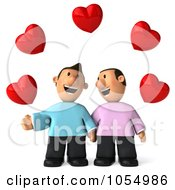 Royalty Free CGI Clip Art Illustration Of A 3d Gay Couple Holding Hands Under Hearts by Julos