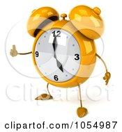 Royalty Free CGI Clip Art Illustration Of A 3d Yellow Alarm Clock Holding A Thumb Up