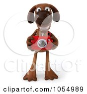 Royalty Free CGI Clip Art Illustration Of A 3d Brown Pooch Holding A Camera 1
