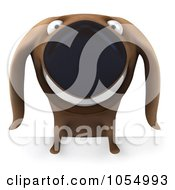 Royalty Free CGI Clip Art Illustration Of A 3d Wiener Dog With A Blank Sign 1