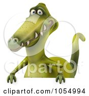 Royalty Free CGI Clip Art Illustration Of A 3d Dinosaur With A Blank Sign 3