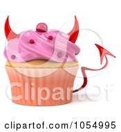 Royalty Free CGI Clip Art Illustration Of A 3d Devil Pink Frosted Cupcake