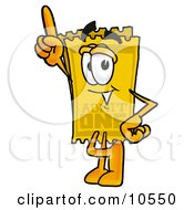 Clipart Picture Of A Yellow Admission Ticket Mascot Cartoon Character Pointing Upwards by Toons4Biz