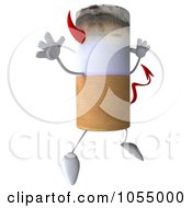 Royalty Free CGI Clip Art Illustration Of A 3d Devil Cigarette Jumping by Julos