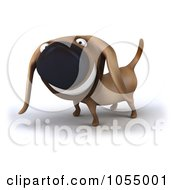 Royalty Free CGI Clip Art Illustration Of A 3d Happy Wiener Dog 2