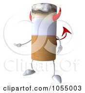 Royalty Free CGI Clip Art Illustration Of A 3d Devil Cigarette Gesturing by Julos