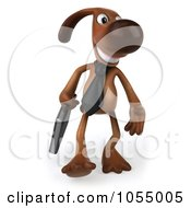 Royalty Free CGI Clip Art Illustration Of A 3d Brown Business Pooch Business Dog 3