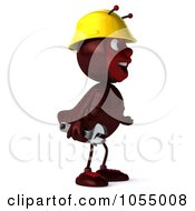 Royalty Free CGI Clipart Illustration Of A 3d Worker Ant Holding A Wrench And Facing Right by Julos