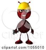 Royalty Free CGI Clipart Illustration Of A 3d Worker Ant Holding A Wrench by Julos
