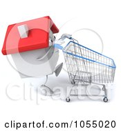 Royalty Free CGI Clip Art Illustration Of A 3d White Clay Home Shopping