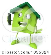 Royalty Free CGI Clip Art Illustration Of A 3d Green Clay Home Using A Cell Phone 2