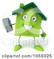 Royalty Free CGI Clip Art Illustration Of A 3d Green Clay Home Using A Cell Phone 1