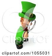 Royalty Free CGI Clip Art Illustration Of A 3d Leprechaun Man Using A Magnifying Glass
