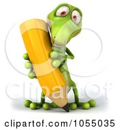 Royalty Free CGI Clip Art Illustration Of A 3d Green Lizard Writing 1 by Julos