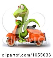 Royalty Free CGI Clip Art Illustration Of A 3d Green Lizard On A Scooter 1 by Julos