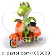 Royalty Free CGI Clip Art Illustration Of A 3d Green Lizard On A Scooter 2 by Julos