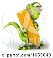Royalty Free CGI Clip Art Illustration Of A 3d Green Lizard Writing 2 by Julos