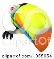 Royalty Free CGI Clip Art Illustration Of A 3d Toucan Holding A Blank Sign