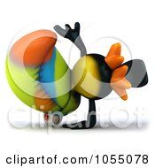 Royalty Free CGI Clip Art Illustration Of A 3d Toucan Doing A Hand Stand