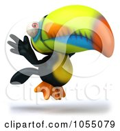 Royalty Free CGI Clip Art Illustration Of A 3d Toucan Taking Flight