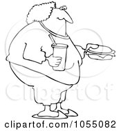 Royalty Free Vetor Clip Art Illustration Of A Coloring Page Outline Of A Fat Woman Eating Fast Food by djart