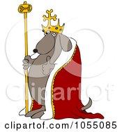 Royalty Free Vetor Clip Art Illustration Of A Dog King Holding A Thumb Up by djart
